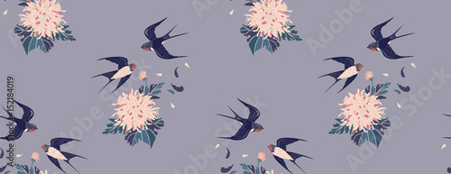 Cotton fabric Feminine seamless pattern in vintage style. Swallows and chrysanthemums on a gray background. background for textile, manufacturing, book covers, wallpapers, print or gift wrap. Vector illustration