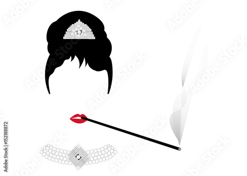 portrait retrò woman, diva with Pearl jewelry, minimal Audrey vector illustratio Fototapet