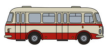 Classic Red And White City Bus