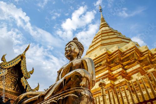 Foto op Canvas Boeddha Golden Buddha statue in Wat Phra That Doi Suthep is tourist attraction of Chiang Mai, Thailand.Asia.