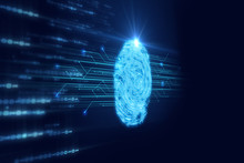 Fingerprint Scanning On Blue T...