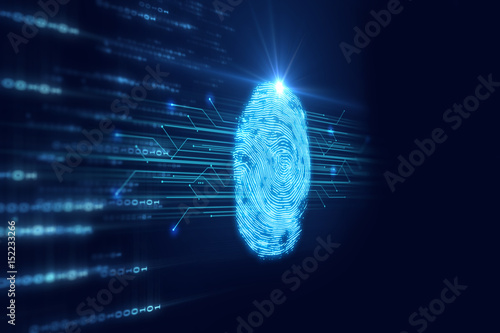 Fingerprint Scanning on blue technology  Illustration Wallpaper Mural