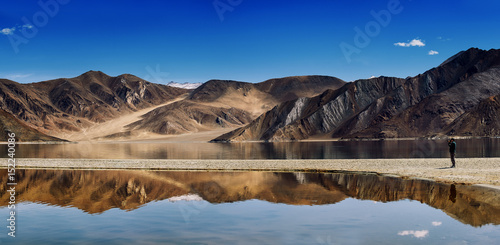 Recess Fitting Reflection Pangong lake with mountain reflect in lake