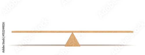 Photo 3d rendering of a wooden plank balancing on a wooden triangle isolated on white background