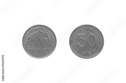 Poster  South Korea Coin 50 won year 1989 isolated on white background.