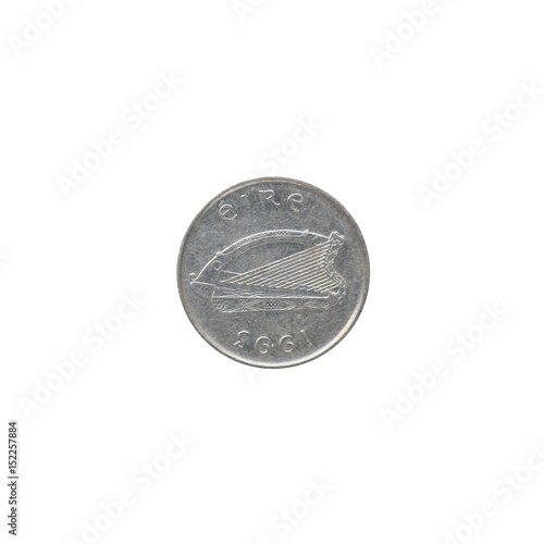 Poster  An Irish coin of five pence from 1993 isolated on black background