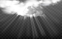 Vector Illustration In A Realistic Style Sun Rays Through White Fluffy Clouds On A Transparent Background