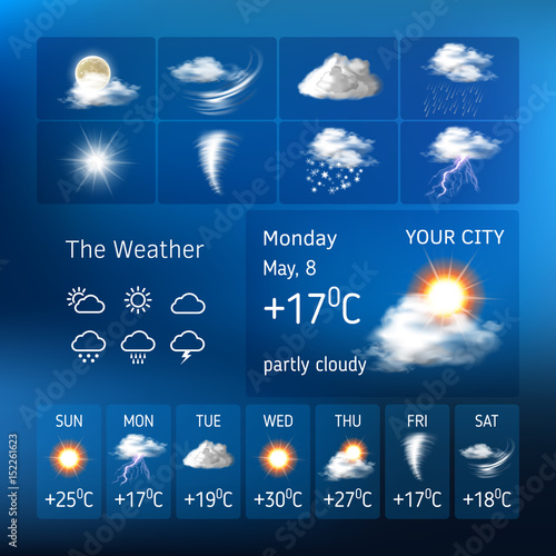 Foto Vector illustration of realistic weather symbols, design for a mobile applicatio