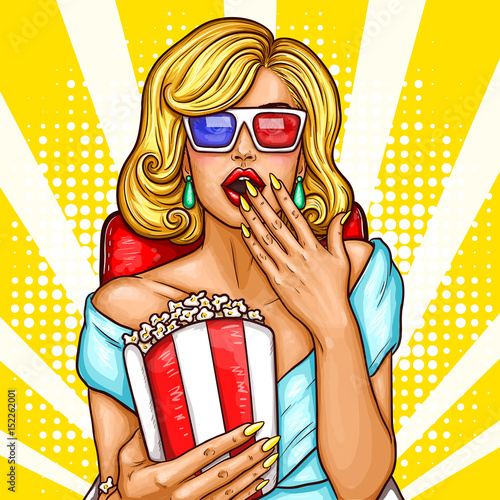 Fotografiet  Vector pop art illustration of a excited blond woman sitting in the auditorium and watching a 3D movie