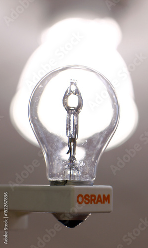 traditional light bulb by lamp manufacturer osram is pictured in
