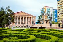 Square With Neptune Fountain In Batumi City, Georgia.