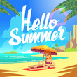 Summer holiday vector background with sea beach and relaxing people