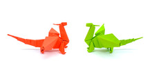 Photo Of Origami Green And Red Dragons Isolated On White Background