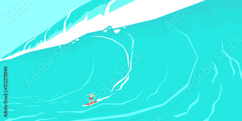 Wall Murals Green coral Vector illustration of a surfer sliding on a big wave.