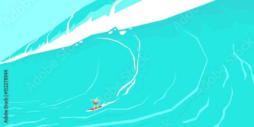 Vector illustration of a surfer sliding on a big wave.