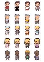 Set Of Different Pixel People,...