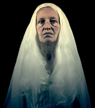 Scary Ghostly Woman Figure Iso...