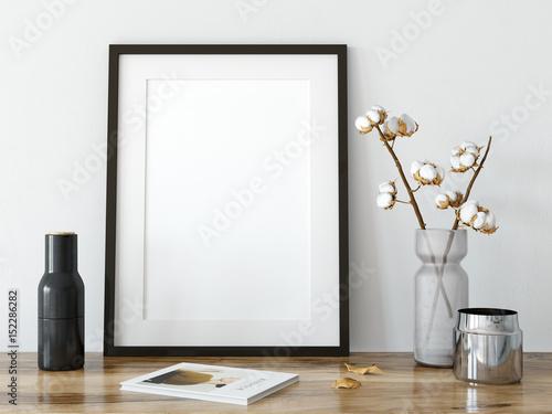 makiety plakatów w salonie wnętrza. Skandynawski styl wnętrza. 3d rendering, 3d ilustracja