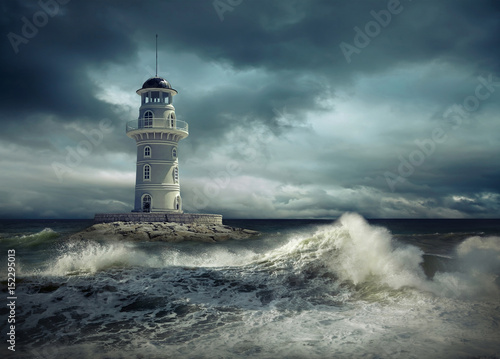 Fotobehang Zee / Oceaan Lighthouse on the sea under sky