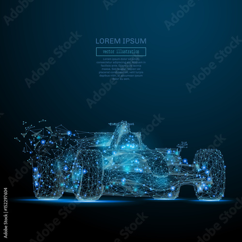 Poster F1 Polygonal F1 CAR. Speed concept. Vector bolide mesh spheres from flying debris. Thin line concept. Blue structure style illustration
