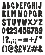 Thick Doodle Handwritten Fill Alphabet, Numbers & Signs With Marker Pen