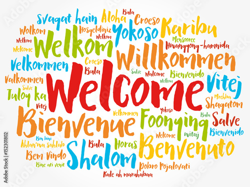 WELCOME word cloud in different languages, concept background Canvas-taulu