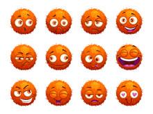 Funny Orange Round Characters Set.