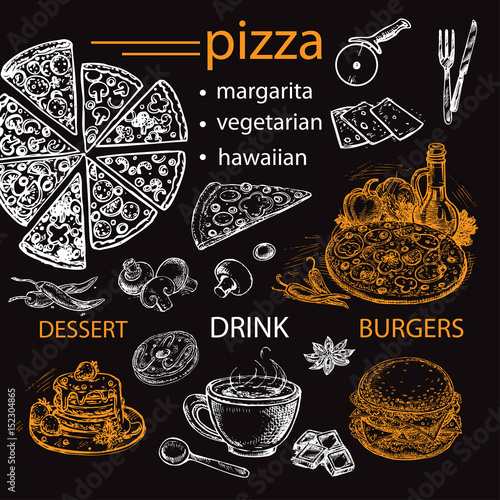 hand drawn pizza food menu for restaurant and cafe