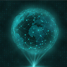 Network And Data Exchange Over Planet Earth In Space Virtual Space.