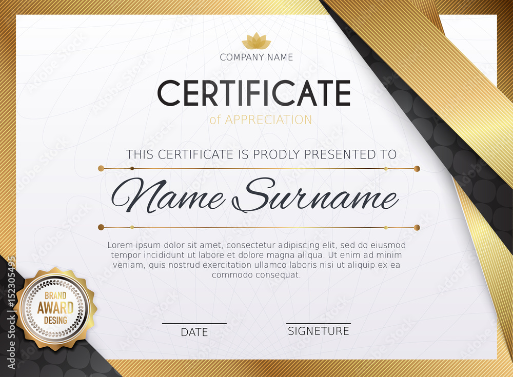Fototapety, obrazy: Certificate template with golden decoration element. Design diploma graduation, award. Vector illustration.
