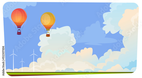 Stampa su Tela Colorful Air Balloons Flying In Sky Over Summer Landscape Flat Vector Illustrati