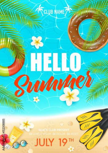 Summer Beach Vacation Club Poster © macrovector