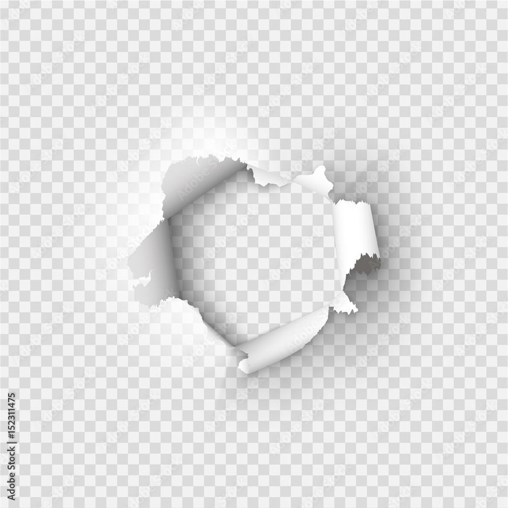 Fototapeta Holes torn in paper on transparent