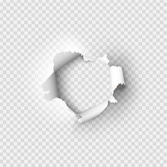 Holes torn in paper on transparent