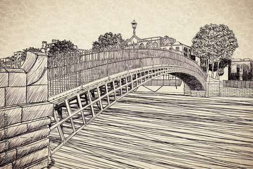 """Photo  The most famous bridge in Dublin called """"Half penny bridge"""" due to the toll char"""