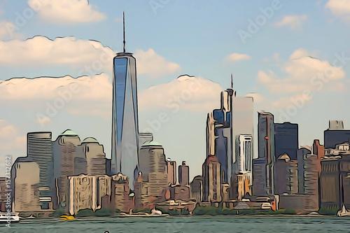 Manhattan Skyline Watercolor Painting Canvas Print