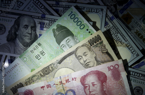 South Korean Won Chinese Yuan And Anese Yen Notes Are Seen On U S 100 Dollar