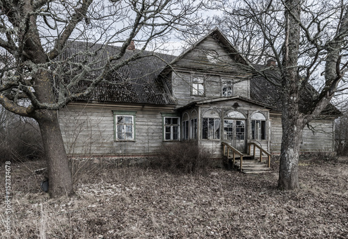 Deteriorated abandoned haunted old house, Latvia - Buy this