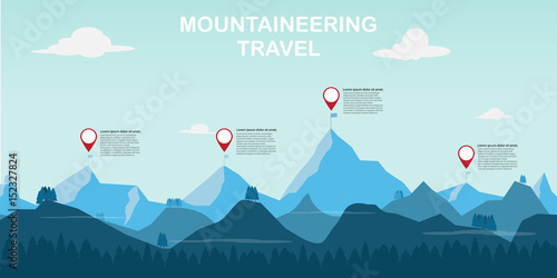 Fényképezés time to mountaineering adventure and travel. vector illustration.