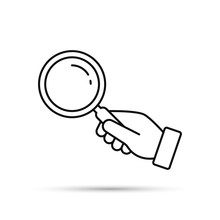 Hand Holding Magnifying Glass Line Icon. Black Silhouette Isolated On White. Vector Flat Illustration. Search Concept.
