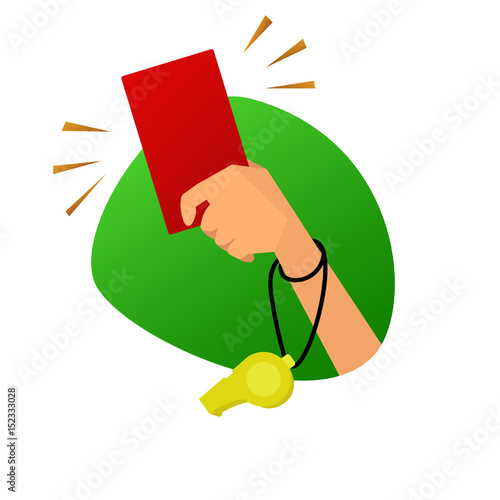 Photo Red card referee hand vector illustration