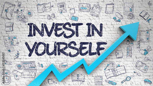 Fotomural Invest In Yourself - Development Concept with Doodle Design Icons Around on the White Brick Wall Background