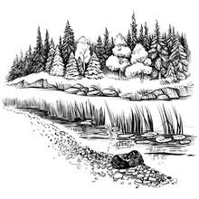 River Landscape With Conifer Forest. Vector Illustration.