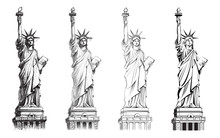 Statue Of Liberty, Vector Collection Of Illustrations.