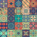 Seamless pattern with portuguese tiles in talavera style. Azulejo, moroccan, mexican ornaments. - 152345426