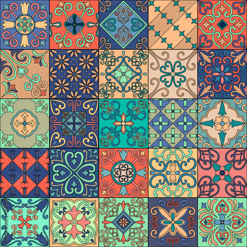 Deurstickers Marokkaanse Tegels Seamless pattern with portuguese tiles in talavera style. Azulejo, moroccan, mexican ornaments.