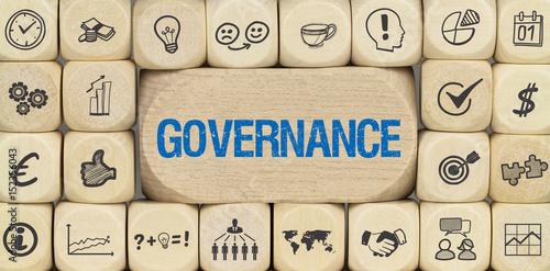 Fotografia  Governance / Würfel mit Symbole