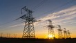 Time lapse - Electricity pylons at sunset. Concept: power, electric, energy, energetics