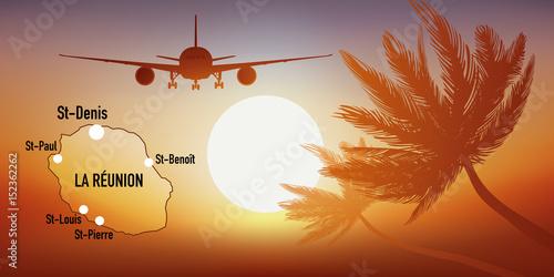La Réunion - île - tourisme - carte - avion - destination - voyage Canvas Print