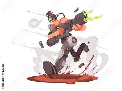 Gamer guy runs with blaster Wallpaper Mural